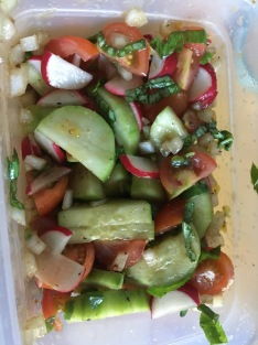 This was my favorite refresh recipe! Cucumber and tomato salad that I added jalapeno and radish to. Friggin delish!